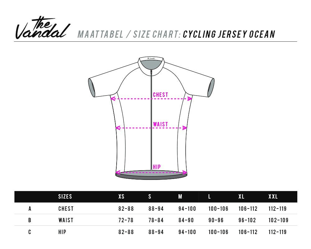 sizing cycling jersey ocean